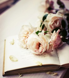 Roses on an old book in a vintage style