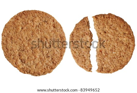 round biscuit isolated on white background