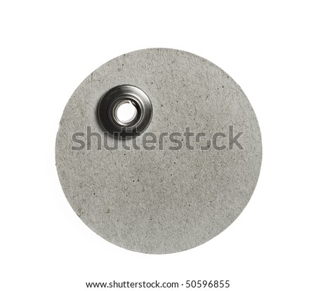 round blank price tag  close up isolated on white background