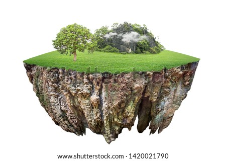 round soil ground cross section with earth land and green grass.  fantasy floating island with natural on the rock, surreal float landscape with paradise concept isolated on white background #1420021790