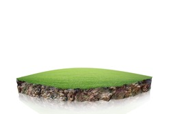 round soil ground cross section with earth land and green grass, realistic  circle cutaway terrain floor with rock isolated
