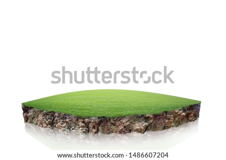 round soil ground cross section with earth land and green grass, realistic  circle cutaway terrain floor with rock isolated #1486607204