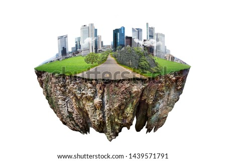 round soil ground cross section with earth land and  modern city  . fantasy floating island with natural on the rock, surreal float landscape with paradise concept isolated on white background