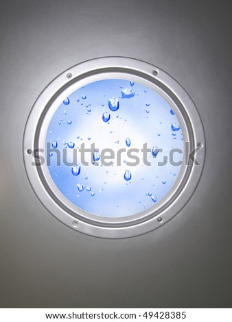 round window with water drops