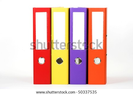 Row of color file folders
