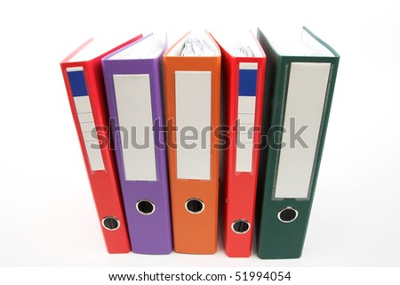 Row of color file folders