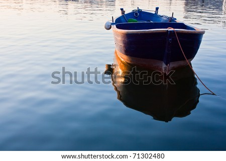 ,rowboat in sea,