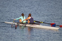Rowers in a double on the Marina del Rey, California.