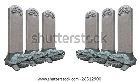 2 rows dragon stone carving is isolated pure white background(with path)