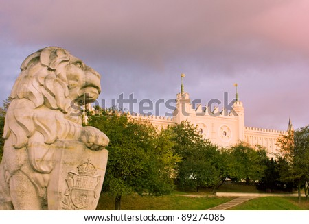 royal castle of Lublin old town with guarding lion, Poland