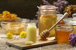 Royal jelly and honey background
