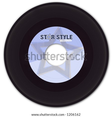 45 rpm Vinyl Record with fake label (fake company name, fake logo - created by me for a realistic look).