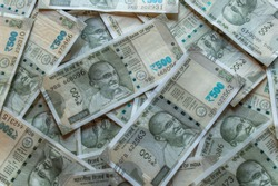 500Rs Indian Currency notes forming a background