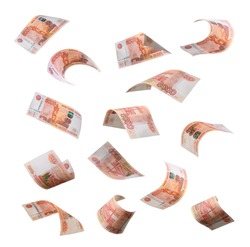 5000 rubles flying on white background. Russian banknotes at different angles.