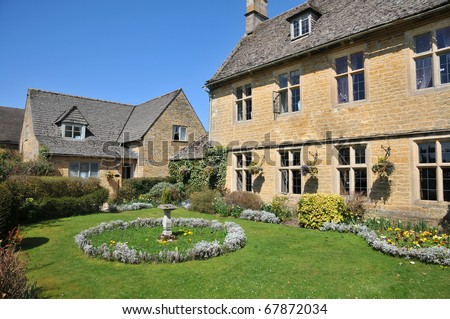 rural Cotsworld stone homes in countryside of England