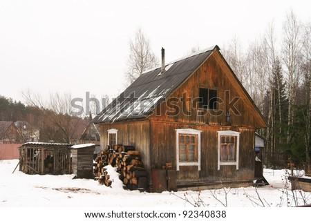 Rural poor house in winter
