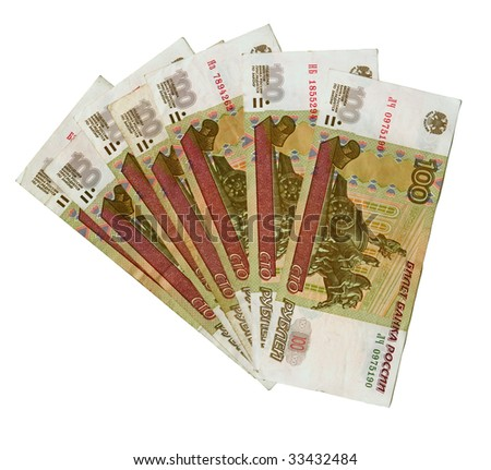 100 Russian Roubles. Successful business background
