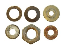 rusty bolts and metal nuts isolated on white background