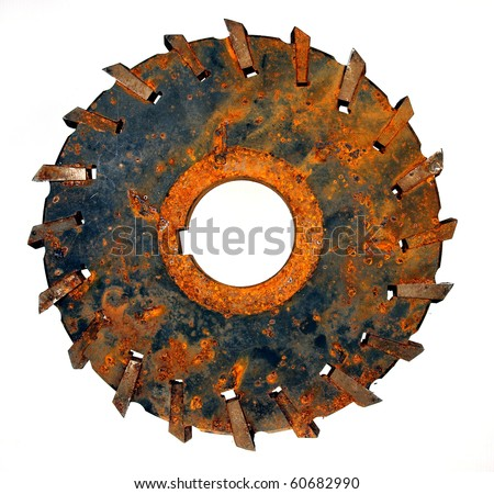 rusty circular saw blades isolated on white