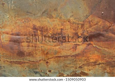 Rusty corrosion and oxidized background. Worn metallic iron panel. Abandoned design wall. Horizontal #1509050903