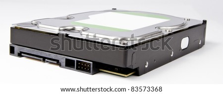 s-ata hard drive with neutral label in grey background. - stock photo