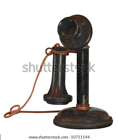 1900's Candlestick Telephone on White - old, dusty and worn