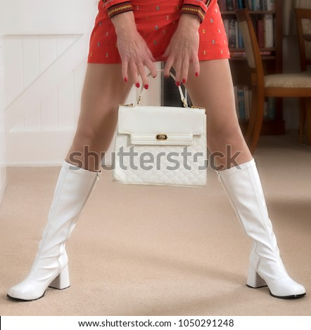 1960's era plastic handbag and white plastic boots