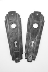 1920s Era Vintage Metal Hardware Escutcheon Door Key Plates Close-Up Black and White