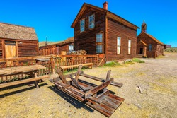 1800s houses in the main street of the Bodie state historic park, California Ghost Town, close to Yosemite national park. Bodie state historic park, California, United States of America.