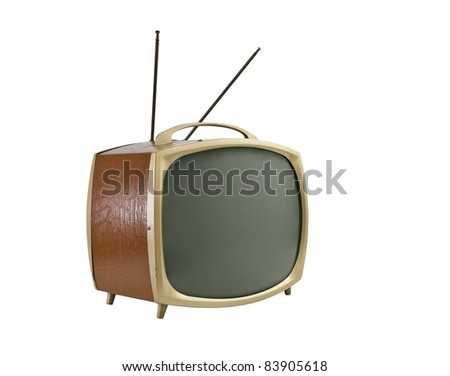 1950's portable television with antennas.   Side angle, isolated on white.