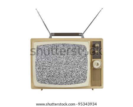1960's portable television with static screen and antennas up.  Isolated on white.