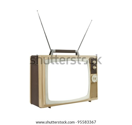 1960's portable TV with antennas up and blanked screen.