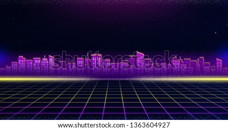 80s Retro Background, Futuristic background. Retro 80s fashion Sci-Fi Background. Abstract background with neon grids in vintage style.