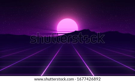 80s Retro Background Illustartion with 3D Render elements. Retro wave, synthwave digital landscape with neon lights, sun, mountains. Cyber low poly grid, terrain. Retro futuristic glowing background