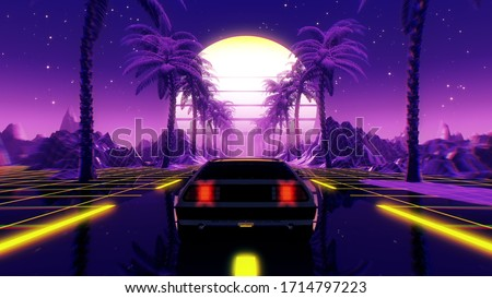 80s retro futuristic sci-fi 3D illustration with vintage car. Riding in retrowave VJ videogame landscape, neon lights and low poly grid. Stylized cyberpunk vaporwave background. 4K