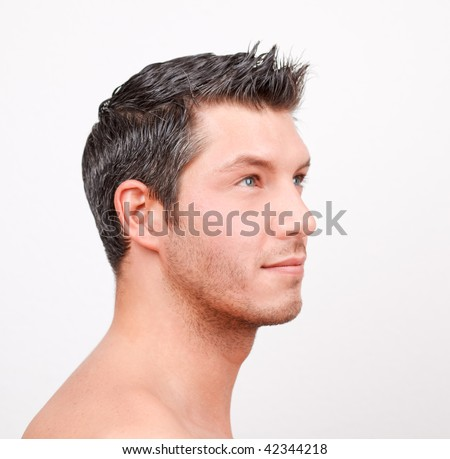 20s 30s caucasian man with brown black hair advertising hairstyle for hairdresser or haircutter