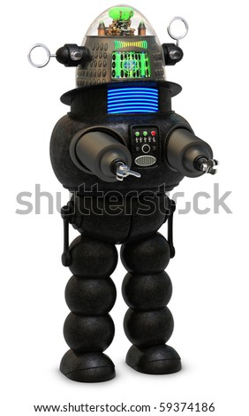 50's style robot on a white background - stock photo