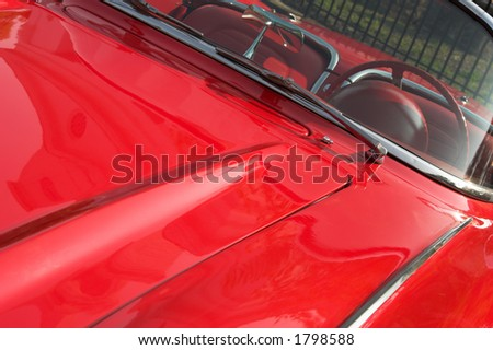 1950's thuderbird, fully restored, close view angled - stock photo