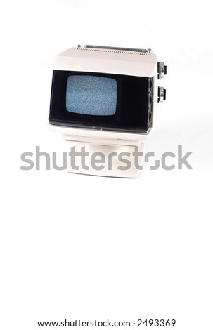 70's tv set, on white, with noise on screen