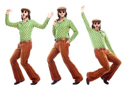 1970s vintage man with green dress dance composition set isolated on white