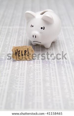 Sad Piggy Bank Needing Help