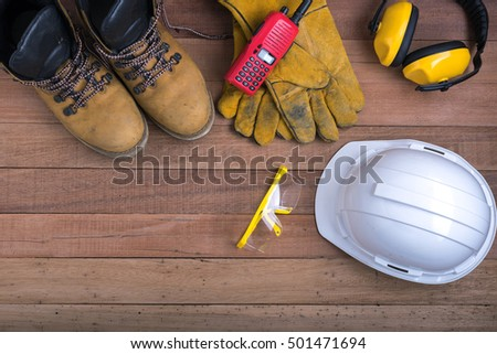 safety equipment on wooden.Industrial construction concept, tools  #501471694