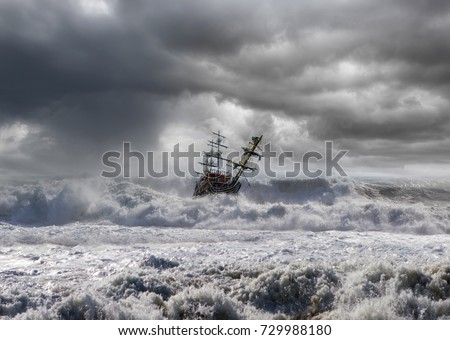 sailing old ship in storm sea