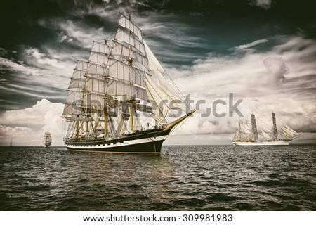 Sailing ship.  Toned image and blur. Retro style postcard. Sailing. Yachting. Travel #309981983