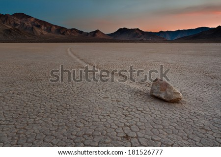 'Sailing Stone' at the Racetrack Playa in Death Valley National Park, California.
