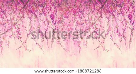 Sakura branches painted with pastel. Stunningly beautiful, modern murals, wallpaper, wall murals, photowallpaper, cover, postcard on an interesting, unusual background. Wall of pink sakura flowers. Foto stock ©