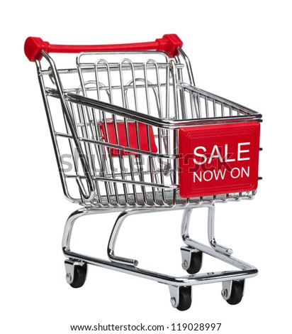 """Sale now on"" empty shopping cart. Isolated on white with clipping path."