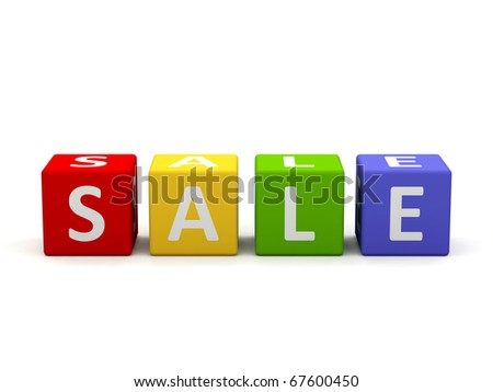 """sale"" phrase compiled with a cubes. 3d image."