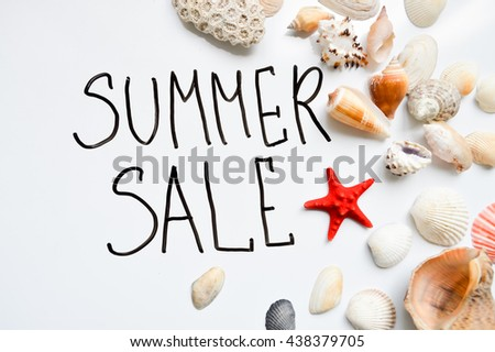 sale, summer background with shells