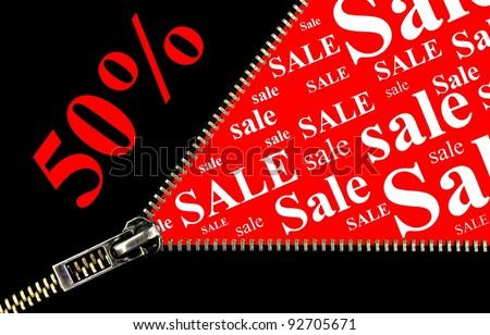 Sale  50%, zipper opening concept